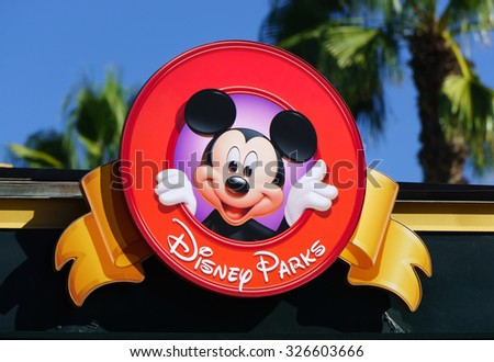 stock photo anaheim ca usa october mickey mouse on sign at downtown disney downtown disney is the 326603666 - Каталог — Фотообои «Для детской»