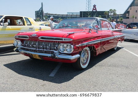 Anaheim USA August Chevrolet Impala On Display During - Angel stadium car show