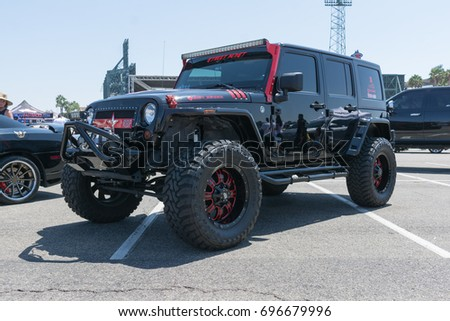Anaheim USA August Jeep Wrangler On Display During DUB - Angel stadium car show