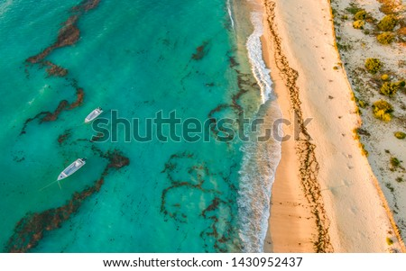 Anakao beach, South West Madagascar. Aerial photo of the coastline with boats on anchor #1430952437