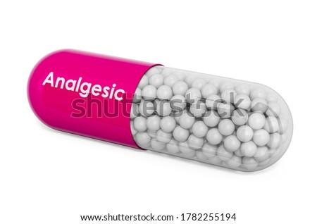 Analgesic Drug, capsule with analgesic. 3D rendering isolated on white background Photo stock ©