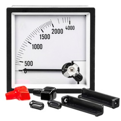 Analog ammeter or voltmeter with a dial, arrow and accessories on a white background