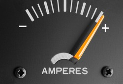Analog amp meter or ammeter or ampere-meter measuring DC direct current in units called amperes.  Direct current amps charge positively and discharge negatively.