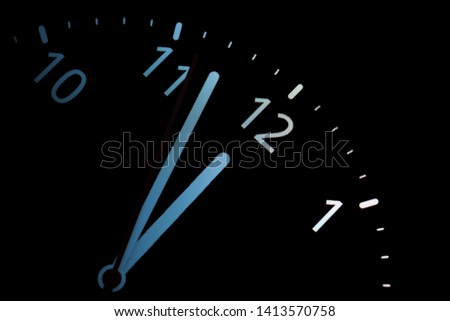 analog clock. clock about to 12 midnight or midday, conceptual of New Year and countdown. blue #1413570758
