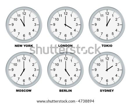 Analog clocks isolated on a white background