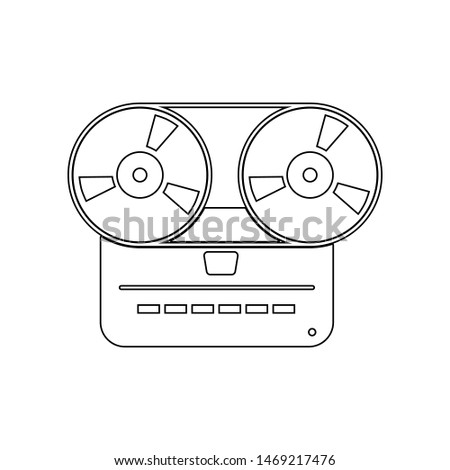 Analog stereo open reel tape deck recorder icon. Element of music instrument for mobile concept and web apps icon. Outline, thin line icon for website design
