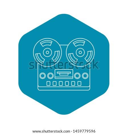 Analog stereo open reel tape deck recorder icon. Outline illustration of analog stereo open reel tape deck recorder icon for web