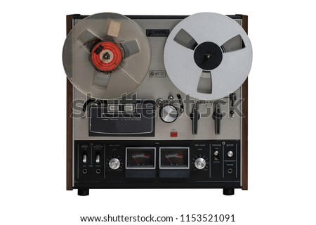 Analog Stereo Open Reel Tape Deck Recorder Player with Metal Reels.This nas clipping path. #1153521091