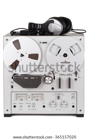 Analog Stereo Reel Tape Deck Recorder Player with headphones #365157020