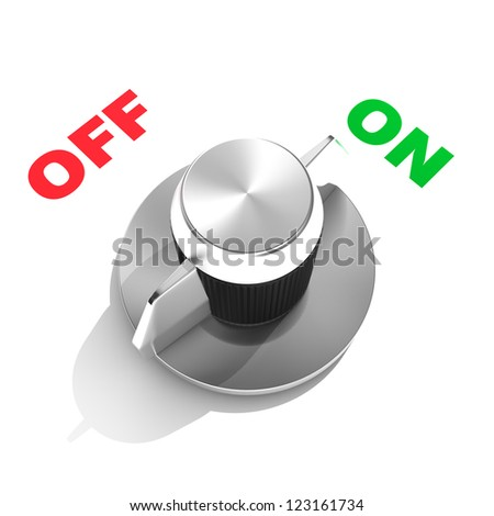 """Analog toggle switch in position """"ON"""" - stock photo"""