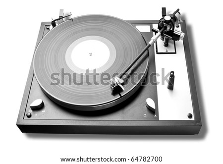 Analog turntable playing record. Isolated and work path included