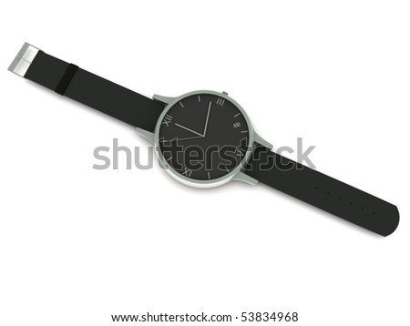 Analog wristwatch isolated on white background.  High quality 3d render.