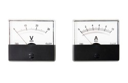 Analogue ammeter and voltmeter isolated on white background