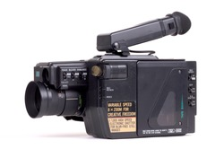 Analogue camcorder, isolated on a white background