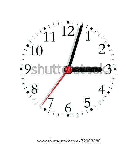 Analogue clock face dial in black and seconds hand in red at 3:03, isolated