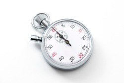 Analogue metal stopwatch on the white background.