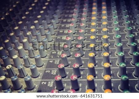 analogue sound mixer  closeup...