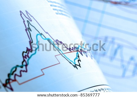 Analysing financial data on stocks and shares chart
