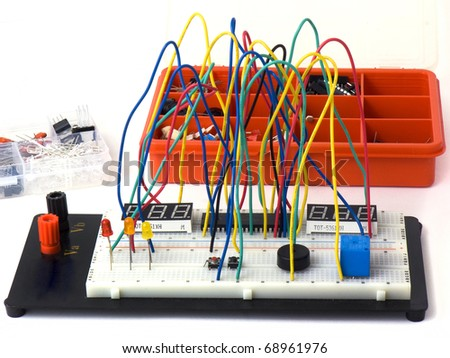 Analysis Of An Electronic Circuit On Breadboard (Raster) Stock ...