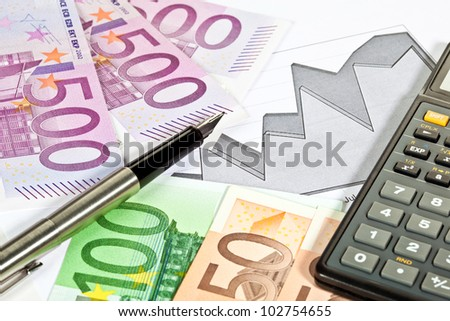 Analysis of financial situation: money, chart, calculator and a pen