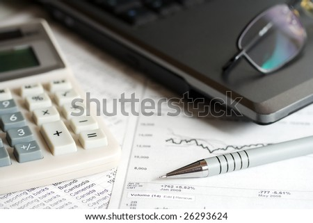 Analysis of the stock market reports. - stock photo