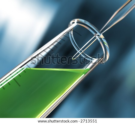 analysis test tube, green liquid