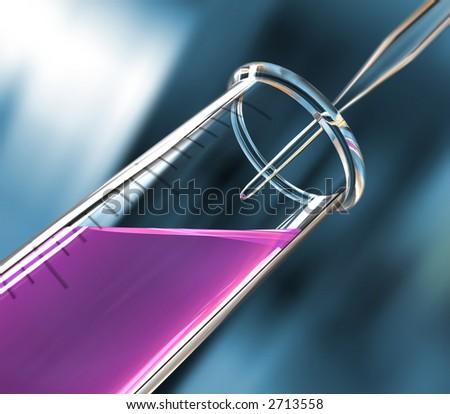 analysis test tube, violet liquid