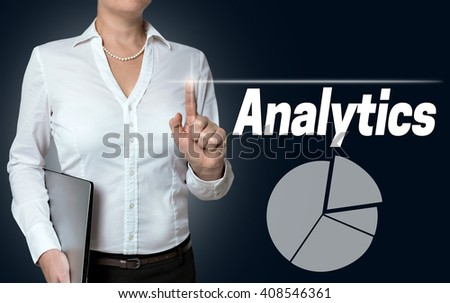 analytics touchscreen is operated by businesswoman background.