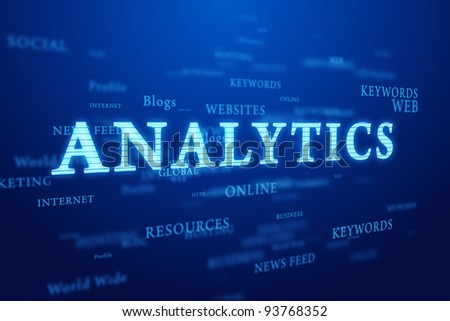 Analytics. Words cloud on deep blue background.