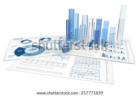 Analyze. Blue infographics documents with 3D graphs and charts of glass.
