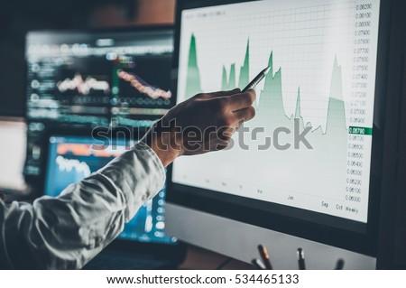 analyzing data. close up of...