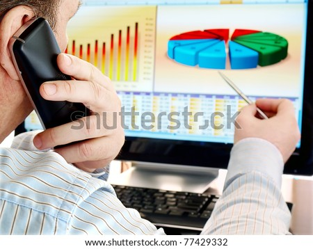 Analyzing data on computer. Man on a phone analyzing financial data and charts on computer screen. - stock photo