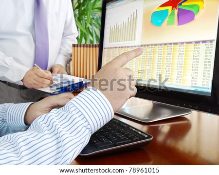 Analyzing  financial data and charts on computer screen.