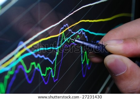 analyzing financial graph on screen