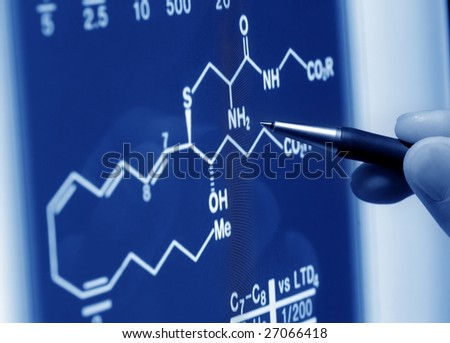 analyzing science graph on screen