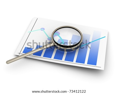Analyzing the financial situation. 3D rendered illustration. Isolated on white.