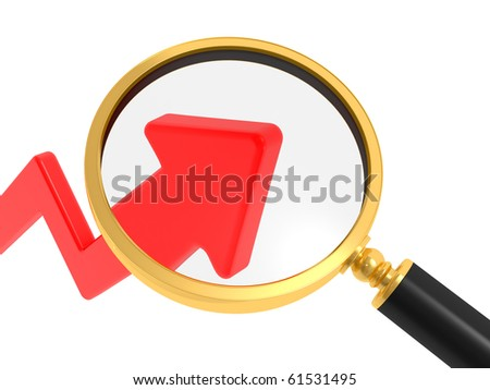 Analyzing the stock market. Magnifying glass and an arrow