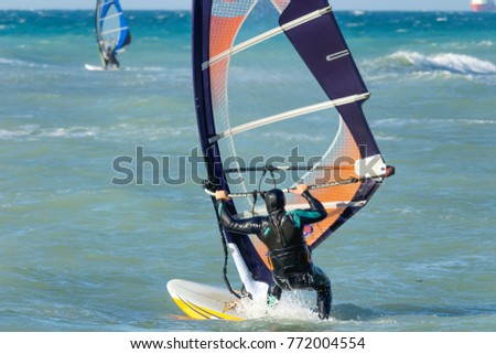 Anapa, Russia, December 10, 2017: Windsurfing, sports competitions #772004554