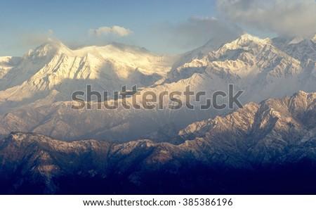 Anapurna's peak during sunrise in Nepal - Shutterstock ID 385386196