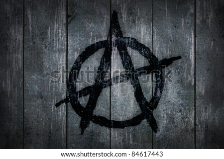 anarchy symbol on wooden background