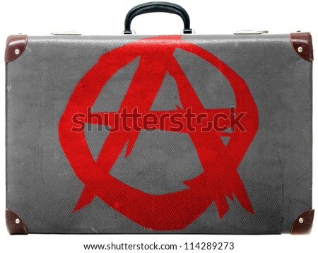 Anarchy symbol painted n old grungy travel suitcase or trunk