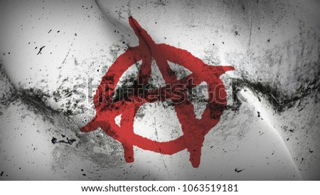 Anarchy Symbol red white grunge flag waving loop.Anarchy Symbol red on white dirty flag blowing on wind.