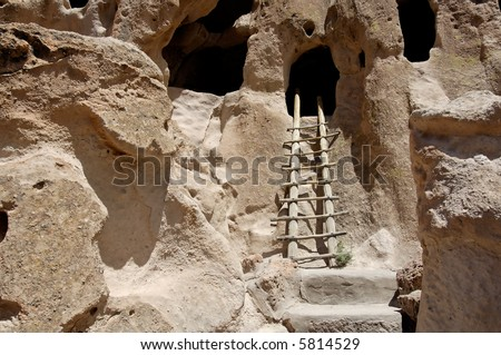 Anasazi cliff dwellings in Bandelier National Monument, New Mexico