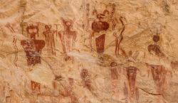 Ancestral Puebloan or Anasazi petroglyphs of strange anthropomorphic figures, often referred to as