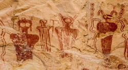 Ancestral Puebloan or Anasazi pictographs of strange anthropomorph figures, often referred to as