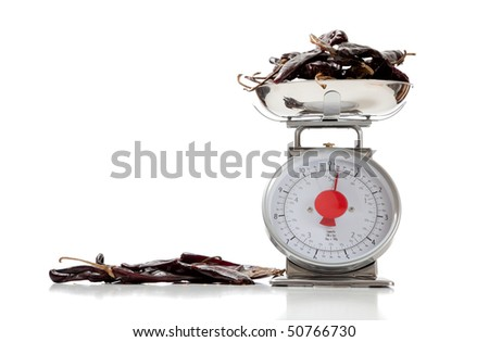 Ancho peppers on a food scale on a white background with copy space