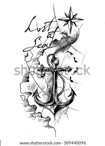 Anchor And Wind Rose On The Map Tattoo Sketch Stock Photo 389440096