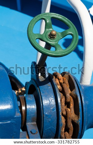 Anchor chain closeup on a boat #331782755