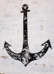 Anchor drawn on white concrete background