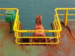 Anchor fairlead on board a construction barge